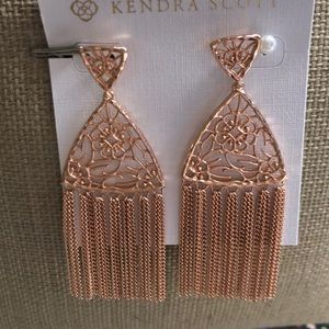 New Authentic Kendra Scott Ana Earrings Rose Gold
